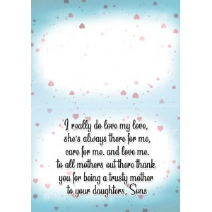 Personalized Mothers Day Greeting Card 002 backview