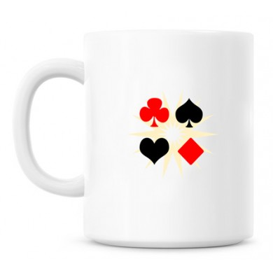 Card shapes in coffee mug