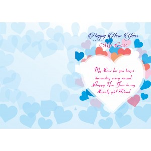 Personalized New Year Greeting Card for girl friend 007 backview