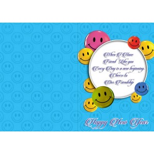 Personalized New Year Greeting Card for friend 004 backview