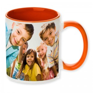 Orange dual tone personalized photo mug