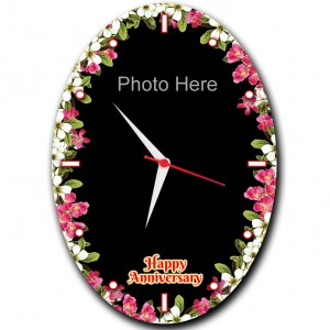 Personalized oval shaped flower designed anniversary clock large backview
