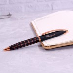 Personalized Black Copper Stylish Ball Pen with Engraved Text