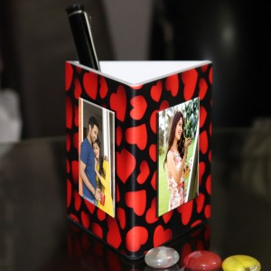 Personalized Pen Stand love theme with 3 pictures backview