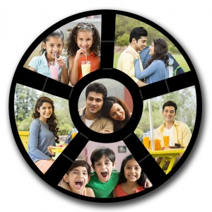 Personalised wooden multi photo disc wall hanging