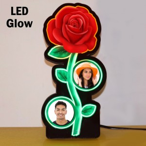 Personalized 2 photo Rose multicolor glow in dark LED frame