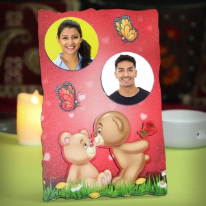 Personalized 2 photo sparkle red frame with bear design