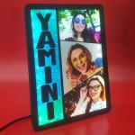 Personalized 3 Photo Name Collage glow in dark LED frame