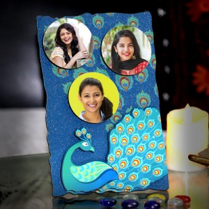 Personalized 3 photo sparkle blue frame with peacock design