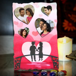 Personalized 4 hearts photo sparkle pink frame