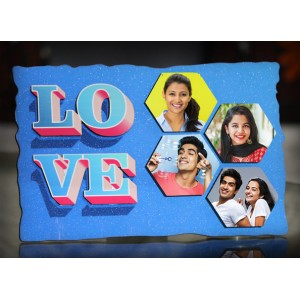 Personalized 4 photo LOVE sparkle frame blue
