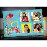 Personalized 4 photo LOVE sparkle frame light blue