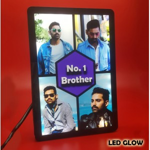 Personalized 4 Photo No. 1 Brother Collage glow in dark LED frame