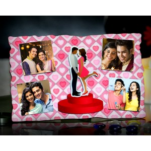 Personalized 4 photo sparkle pink frame with couple design