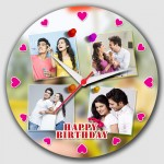 Personalized 4 picture pink heart dial round wall clock