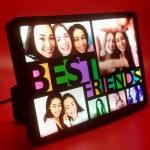 Personalized 6 Photo Best Friends Collage glow in dark LED frame