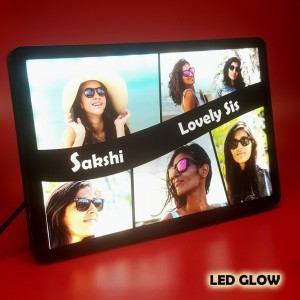 Personalized 6 Photo Collage Lovely Sis glow in dark LED frame