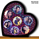 Personalized 7 pic heart shaped multicolor glow in dark LED frame