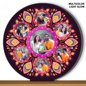 Personalized 7 pic round shaped multicolor glow in dark LED frame