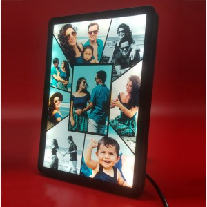 Personalized 8 Photo Collage glow in dark LED frame