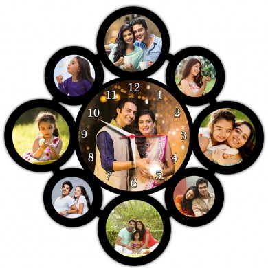 Personalized 9 pic collage frame with round wall clock