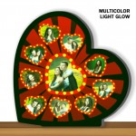 Personalized 9 pic heart shaped multicolor glow in dark LED frame