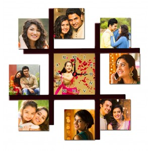 Personalized 9 pic multi photo frame with wall clock