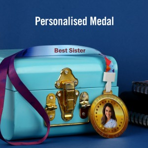 Personalized Acrylic Best Sister Medal with Photo and Text with Ribbon