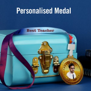 Personalized Acrylic Best TEACHER Medal with Photo and Text with Ribbon