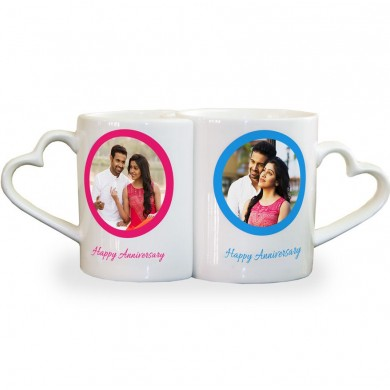 Personalized anniversary couple photo mug set