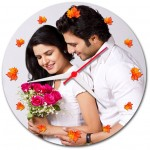 Personalized autumn leaves round wall clock
