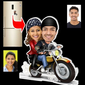 Personalized Bike riding couple caricature fridge magnet B
