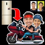 Personalized Bike riding couple caricature fridge magnet