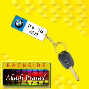 Personalized BMW Car key ring with name and number and logo