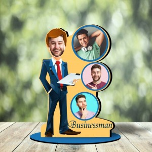 Personalized Businessman MDF cutout photo collage stand