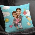 Personalized Caricature Cushion Baby Excepting couple (16X16)