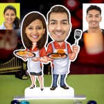 Personalized Chef Couple Caricature Photo Stand In