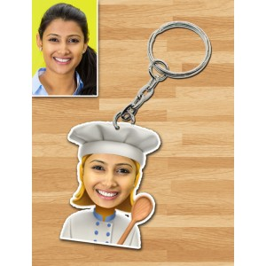 Personalized Chef Female Caricature Key Ring