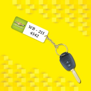 Personalized Chevrolet Car key ring with name and number and logo