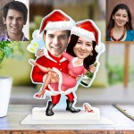 Personalized Christmas couple celebration Caricature Photo Stand In