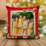 Personalized Christmas Satin Cushion with Both Side Photo (16x16)