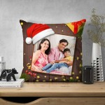 Personalized Christmas Satin Cushion with Photo (16x16)