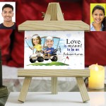 Personalized Couple in Cruise Ship Caricature Easel Frame