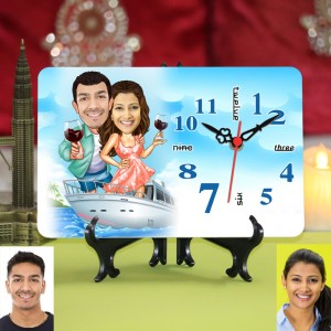 Personalized Couple in Cruise Ship Caricature Table Clock