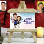 Personalized couple in vacation Caricature Easel Frame