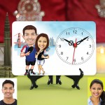 Personalized Couple in Vacation Caricature Table Clock