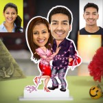 Personalized Couple tide with light strip Caricature Photo Stand In