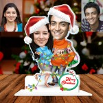 Personalized Couple tide with light strip Christmas Caricature Photo Stand In