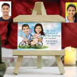Personalized Cycling Couple Caricature Easel Frame