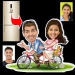 Personalized Cycling couple caricature fridge magnet